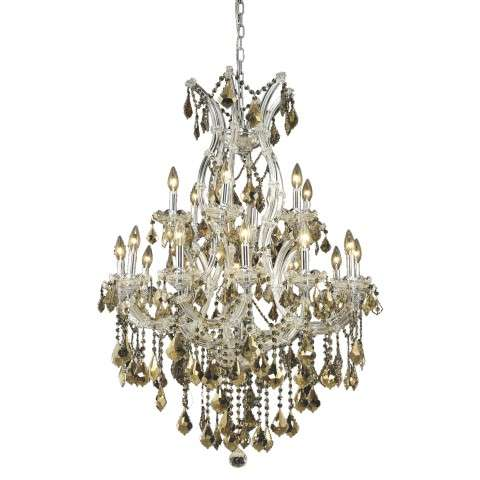 2800 Maria Theresa Collection Hanging Fixture D32in H42in Lt:18+1 Chrome Finish (Royal Cut Golden Teak)