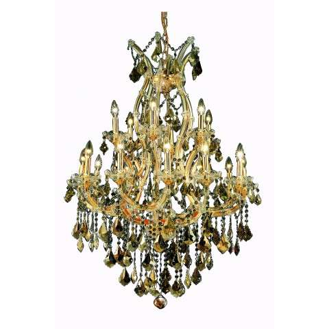 2800 Maria Theresa Collection Hanging Fixture D32in H42in Lt:18+1 Gold Finish (Royal Cut Golden Teak)
