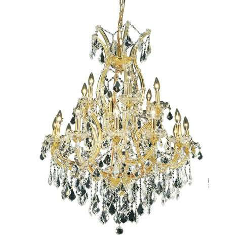 2800 Maria Theresa Collection Hanging Fixture D32in H42in Lt:18+1 Gold Finish (Elegant Cut Crystal)