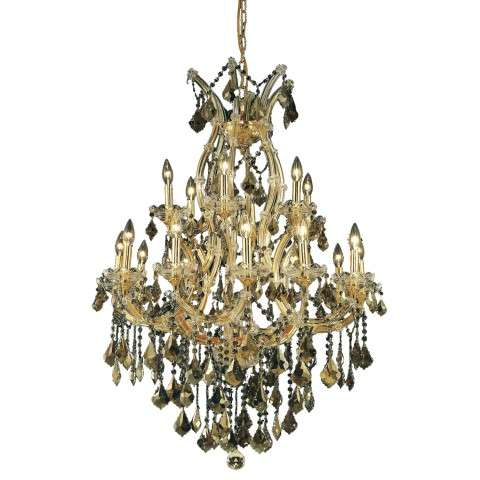 2800 Maria Theresa Collection Hanging Fixture H42in D32in Lt:18+1 Golden Teak Finish (Swarovski Elements Golden Teak Crystals)