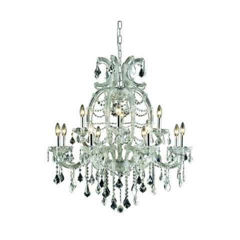 2800 Maria Theresa Collection Hanging Fixture H35.5in D33.5in Lt:12 Chrome Finish (Elegant Cut Crystals)