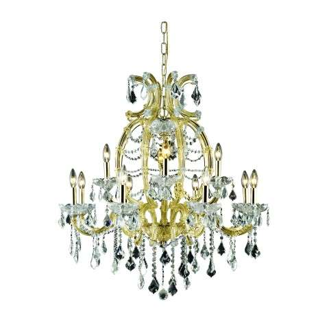 2800 Maria Theresa Collection Hanging Fixture H35.5in D33.5in Lt:12 Gold Finish (Elegant Cut Crystals)