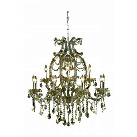 2800 Maria Theresa Collection Hanging Fixture W33.5in H35.4in Lt:12 Golden Teak Finish (Royal Cut Golden Teak Crystals)