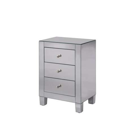 3 Drawers Cabinet 17-3/4 in. x 13 in. x 25 in. in Clear Mirror