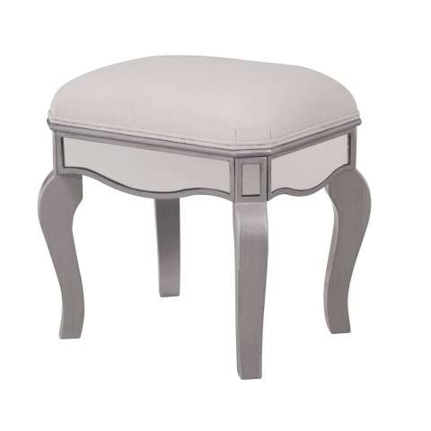 Dressing stool 18 in. x 14 in. x 18 in. in Clear Mirror
