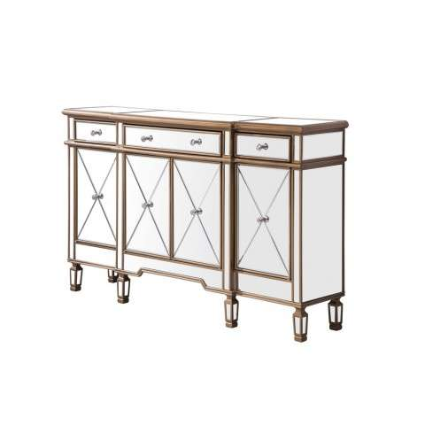 3 Drawer 4 Door Cabinet 60 in. x 14 in. x 36 in. in Gold Clear