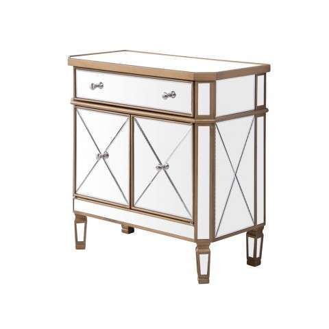 1 Drawer 2 Door Cabinet 32 in. x 16 in. x 32 in. in Gold Clear