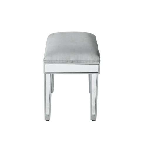 Dressing stool 18in. Wx 14in. D x 18in. H in antique silver paint