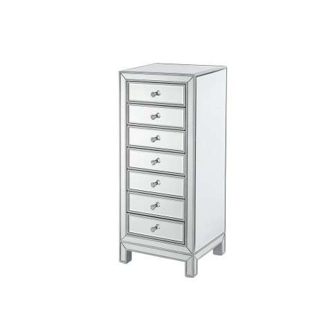 Lingerie Chest 7 drawers 18in. W x 15in. D x 42in. H in antique silver paint