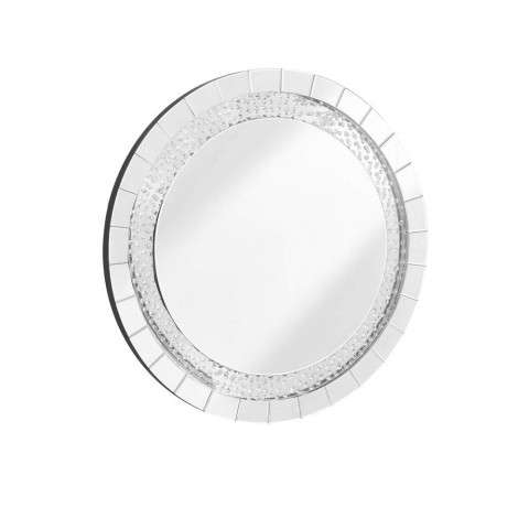 Sparkle 39 in. Contemporary Crystal Round Mirror in Clear