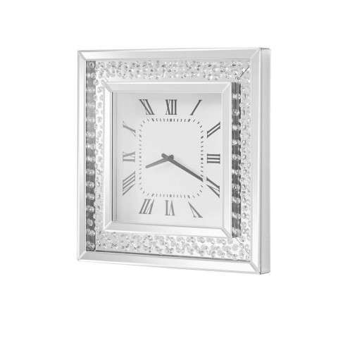 Sparkle 20 in. Contemporary Crystal Square Wall clock in Clear