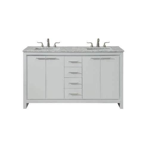 60 in. Double Bathroom Vanity set in White