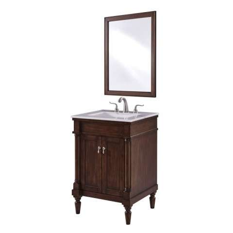 24 in. Single Bathroom Vanity set in Walnut