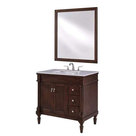 36 in. Single Bathroom Vanity set in Walnut