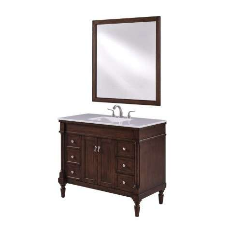 42 in. Single Bathroom Vanity set in Walnut