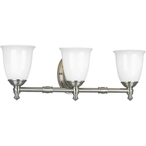 Progress P3029-09 Delta Three-light bath bracket in Brushed Nickel finish with white opal glass.