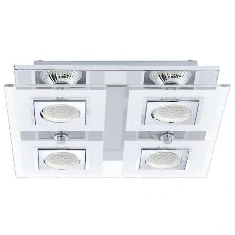 Cabo 4x35W Square Ceiling Light w/ Chrome Finish and Satin and Clear Glass