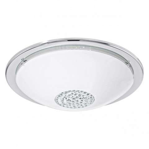 Giolina 1x11W LED Ceiling Light w/ Chrome Finish and White Glass w/ Crystal Stones
