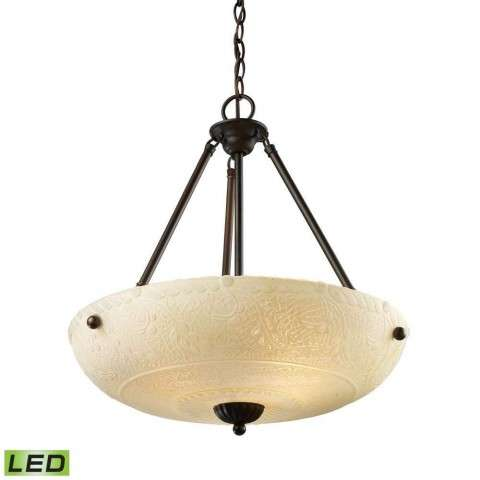 Restoration 4-Light Pendant In Aged Bronze - LED - 800 Lumens (3200 Lumens Total) With Full Scale …