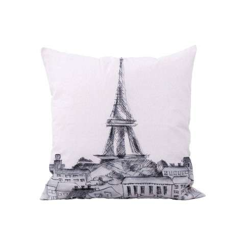 Parisian Cityscape Pillow - Handpainted Art
