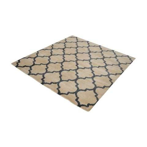 Wego Handwoven Printed Wool Rug In Natural And Black - 16 - Inch Square