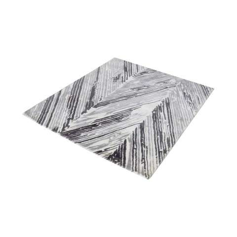 Rhythm Handwoven Printed Wool Rug In Grey And White - 16 - Inch Square