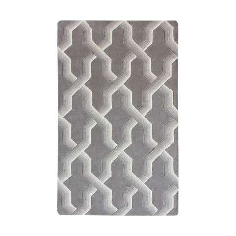 Ottavio Hand Tufted Wool Rug 108x144 in Grey