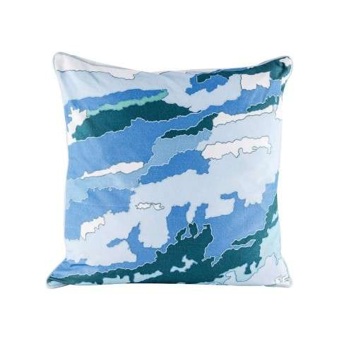 Blue Topography Pillow With Goose Down Insert in Digital Print