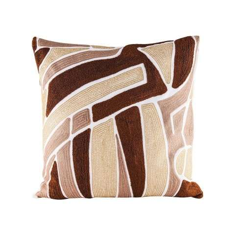 Brown Neutrals Pillow With Goose Down Insert in Embroidery