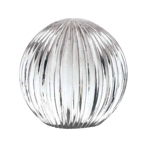 Ribbed Glass Globe in Silver