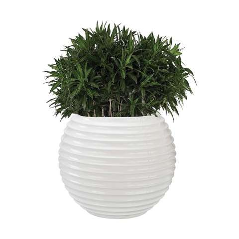 Jaya Bamboo Tuft Planter in Gloss White