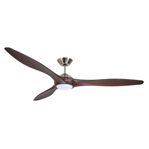 Emerson Lindbergh Eco CF315CO72BS 72 Inch DC Motor Ceiling Fan in Brushed Steel with Sculpted Solid Wood Coffee Blades and LED Light