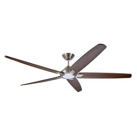Emerson CF515CO72BS 72 Inch Dorian Eco Ceiling Fan in Brushed Steel with Curved Solid Wood Coffee Finished Blades