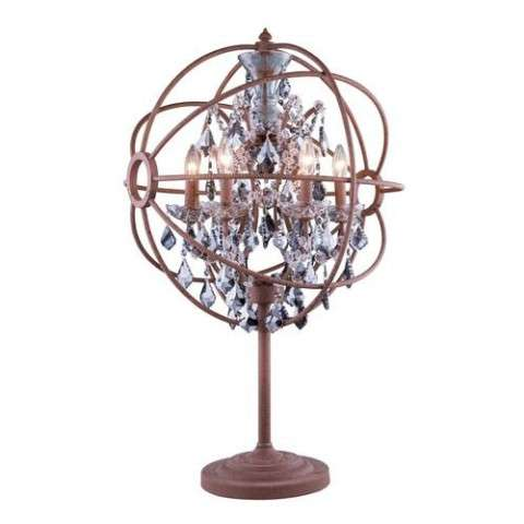 "1130 Geneva Collection Table Lamp D:22"" H:34"" Lt: Rustic Intent Finish (Royal Cut Silver Shade Crystals)"