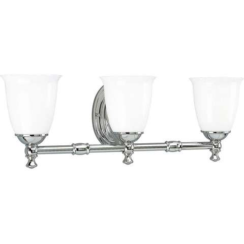 Progress P3029-15 Delta Three-light bath bracket in Polished Chrome finish with white opal glass.