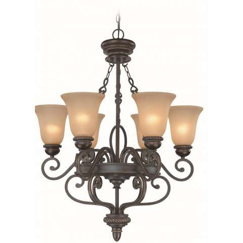 Craftmade Exteriors Highland Place - Mocha Bronze 6 Light Chandelier in Mocha Bronze