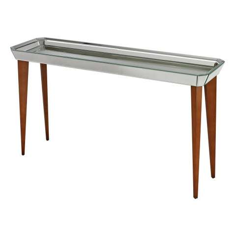Console Table - Rushbrook Mid-Century Mirrored Console Table By Sterling - Mdf and Mirror