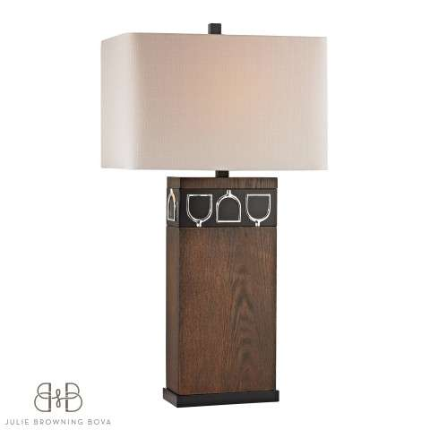 Triple Tack Hunt Table Lamp In Antique Pine - Ob - Chrome With Linen Shade