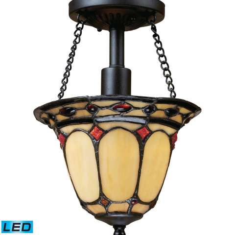 Diamond Ring 1-Light Semi Flush In Burnished Copper - LED Offering Up To 800 Lumens (60 Watt Equi…
