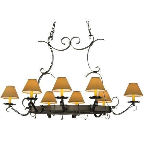 "54""L Laramie 8 Lt Hand Forged Pot Rack"