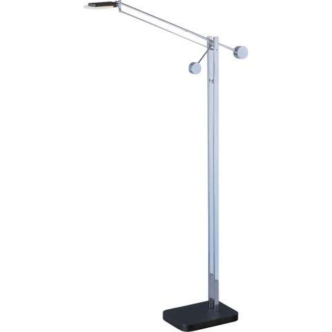 Eco-Task LED Floor Lamp in Black and Polished Chrome