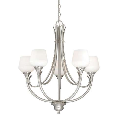 Grafton 5L Chandelier Satin Nickel