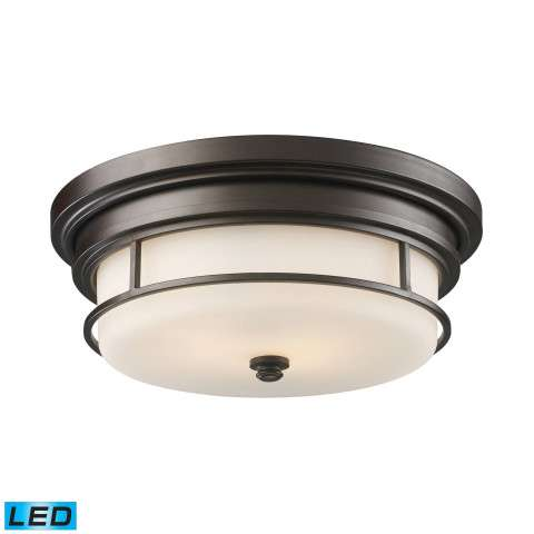 Newfield 2-Light Flush Mount In OiLED Bronze - LED - 800 Lumens (1600 Lumens Total) With Full Scal…