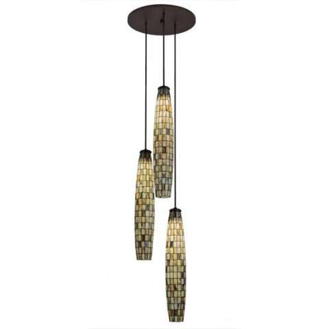 "24"" W Checkers 3 Lt Cascading Pendant - Custom Crafted In Yorkville - New York Please Allow 30 Days"