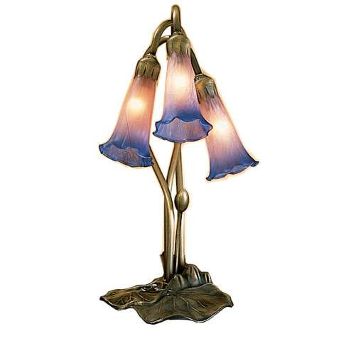 Meyda Tiffany 14670 Pink/Blue Pond Lily 3 Lt Accent Lamp in Mahogany Bronze finish