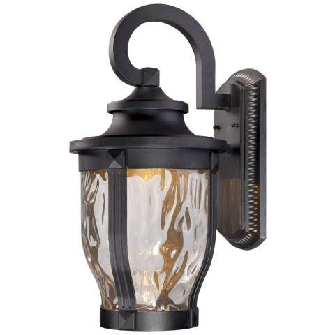The Great Outdoors 1 Light Led Wall Mount In Black Finish W/Clear Hammered Glass