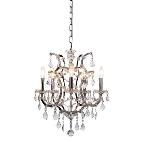 1138 Elena Collection Pendant Lamp D:18in H:22in Lt:5 Polished Nickel Finish Royal Cut Crystal (Clear)