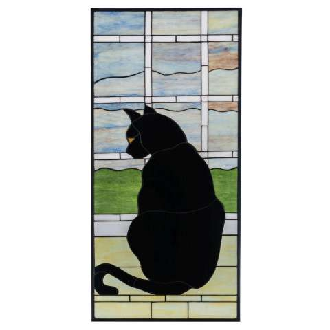 "20"" W X 42"" H Cat In Window Stained Glass Window"