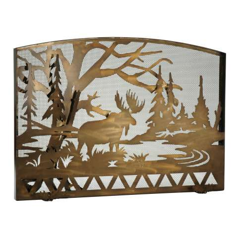 "Moose Creek Arched Fireplace Screen - 60"" Wide x 40.25"" Tall"