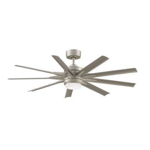 Fanimation Odyn Model MAD8152BNW Brushed Nickel shown with BPW8152-56BNW 56 Inch Silver Colored All Weather Composite Blades.
